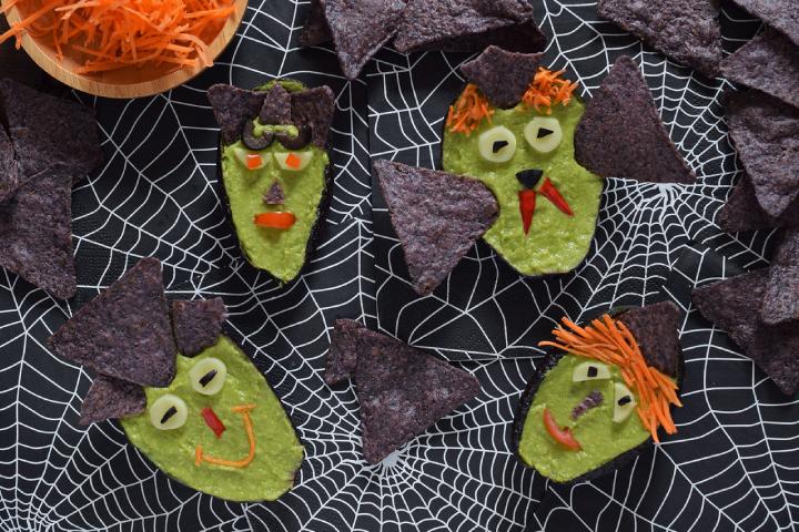 Receta de monstruo de palta de Halloween